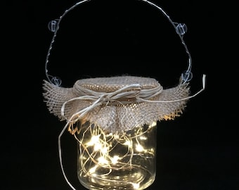 Hanging jar Christmas holiday battery operated fairy lights luminary with custom topper warm white lights