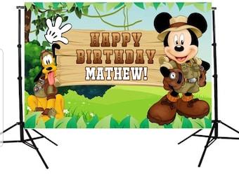 f5a0e2b462bdf Mickey Mouse Safari Printed Personalized Birthday Party Vinyl Backdrop  3x5ft 5x7ft