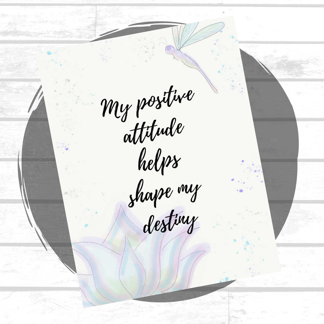 90 Positive Affirmation Cards Watercolor Dragonfly Lotus Etsy