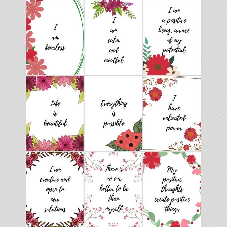 photograph regarding Printable Positive Affirmations titled 90 Printable Absolutely sure Confirmation Playing cards, Floral Flower positivity motivational quotations down load, inspirational self treatment sayings