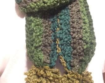 Green Tweed Crocheted Scarf