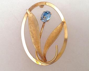 Vintage! Van Dell gold fill light blue stone flower pin.