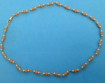 Vintage! Sterling silver orange stone beaded necklace. Gold overlay on sterling.