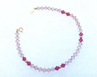 14k gold light pink &magenta / purple pink crystal bracelet.