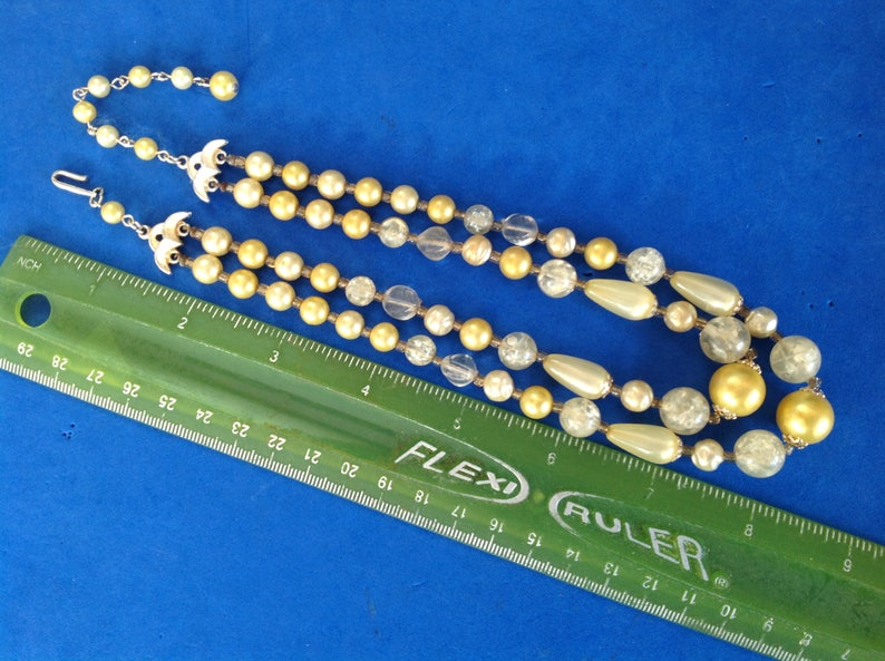 pearlized /&clear plastic bead 2 strand necklace 1950/'s greenish-yellow textured Vintage