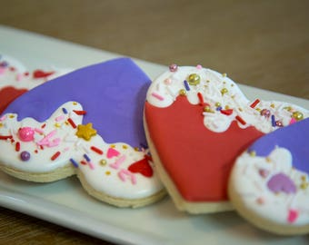 """Dripping Hearts Collection Cookies. 12, 4"""" cookies."""