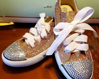 03b5b5c84151 Custom glitter shoes available in slip on and lace up tennis shoe style  bling optional