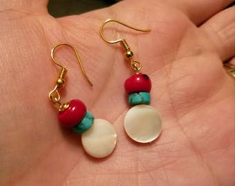 Sweet Pearl, coral, and turquoise earrings, pearl earrings, turquoise and coral earrings