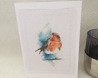 Robin card, cute christmas robin, festive robin card, christmas robin card, robin red breast, red robin card, bird card, bird christmas card
