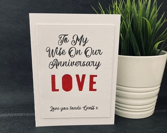 Personalised 4th 12th Wedding Anniversary Card, Cut Out Card,  Anniversary Card For Wife, Husband, Partner, Silk Anniversary Card