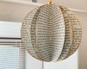 Book Sculpture, Vintage Christmas Hanging Decoration, Paper Sculpture, Tree Decor, Vintage Handmade Book Decor, Home Ornament, Paper Baubles