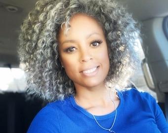 Grey wig, gray wig, wigs, wigs for women, grey synthetic wig, handmade, CROCHET curly wig, curly grey custom wig, alopecia wig, black owned