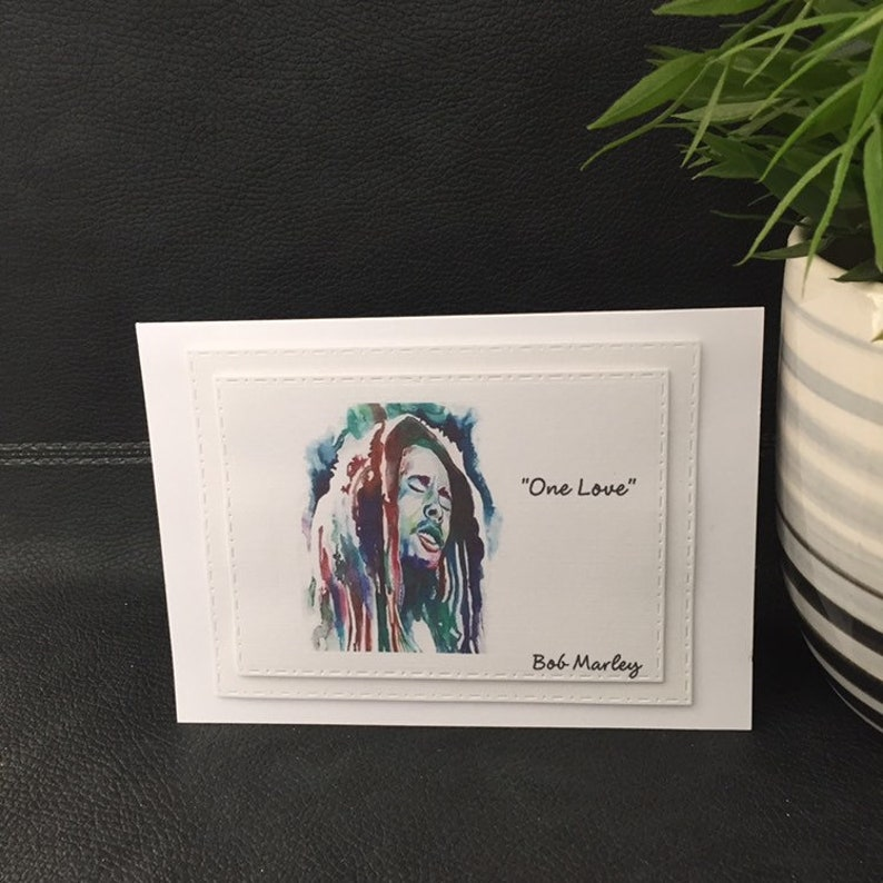 support card thinking of you one love Inspirational card encouraging card card with quote bob marley uplifing card motivational card