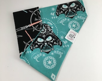Mrs. Vader Teal Over The Collar Double Sided Dog Bandana