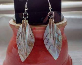 ON SALE Mother of Pearl leaf earrings
