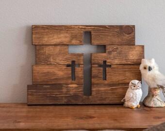 Wooden Cross Wall Decor | Three Crosses Decor | Home Decor | Rustic Crosses | Cross Wall Hanging