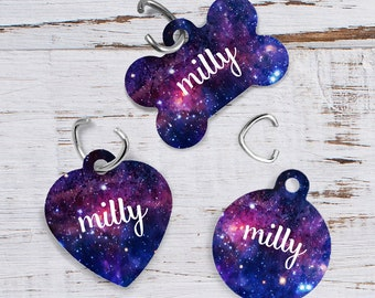 Moon Pet Tag | Personalized Pet Tag | Pet ID Tag | Dog Tag | Cat Tag | Dog Collar Tag | Two-sided | Galaxy