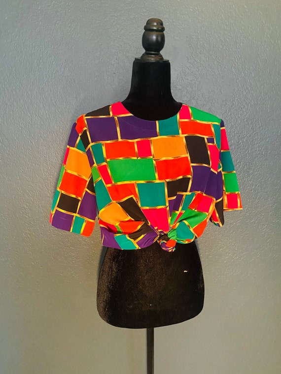 Rainbow Block Blouse - image 1