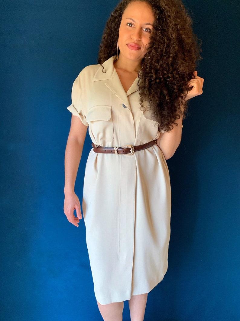 Vintage 80/'s Tan Zip-Up Dress