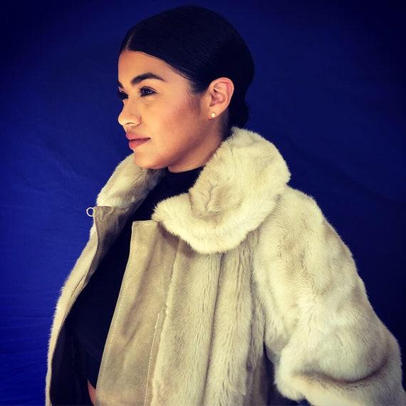Womens Vintage Leather/Fur Coat