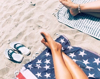 2c10bceb394 American Flag Towel Beach Pool 4th Fourth of July Independence Day Stars  Stripes Flag USA Preppy Stripes Bath CoverUp Sarong Picnic Yoga