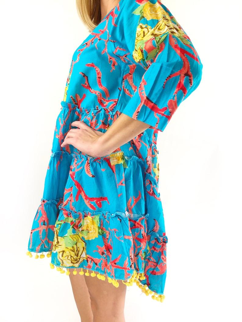 Coral Reef Dress Boho Style Dress Beach Dress Embroidered Dress Preppy Summer Dress Poplin Cover Up Resort Wear Tiered Dress