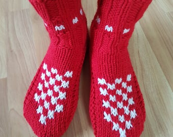 Knitted Slippers, Indoor Knitted Slippers, House Shoes, Valentine's Day Gift, Knitted Socks, Women Clothing