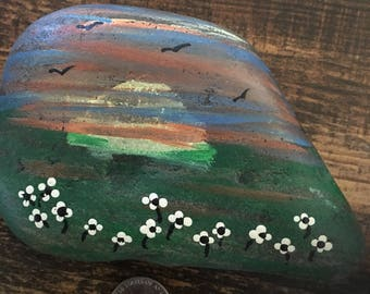 Sunset hand painted rock