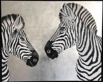 ZEBRA LOVE  100x80     Original Painting on Canvas