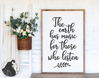Silhouette file The Earth has Music For Those Who Listen SVG png pdf  Shakespeare quote  diy vinyl lettering  diy home decor  Cricut