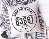 Zip Code Frame SVG, Home Sweet Home svg, Round Home Cut File, Farmhouse Frame svg, Pillow Designs, Htv File, Cricut Design, Silhouette Files