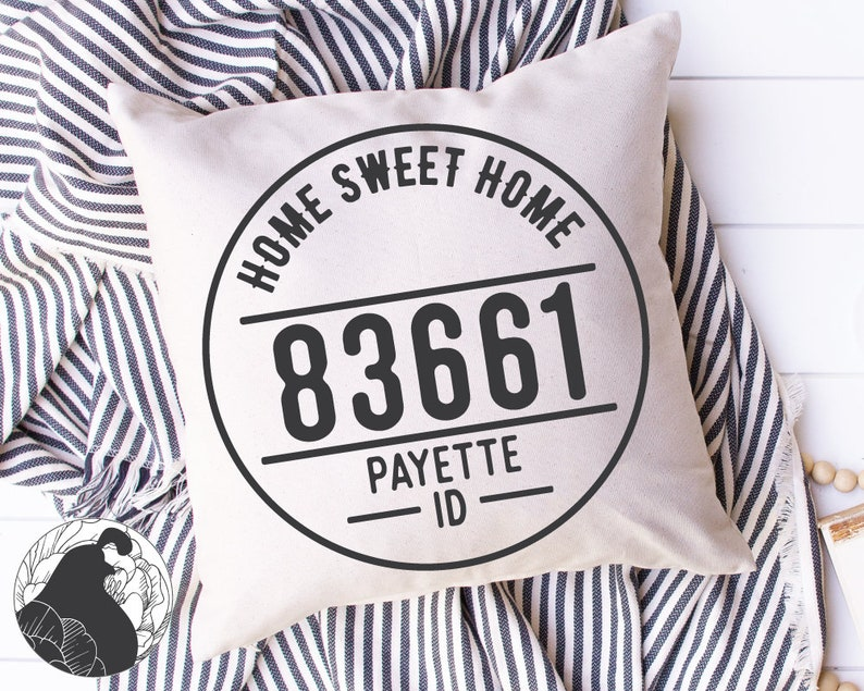 Zip Code Frame SVG Home Sweet Home svg Round Home Cut File image 0