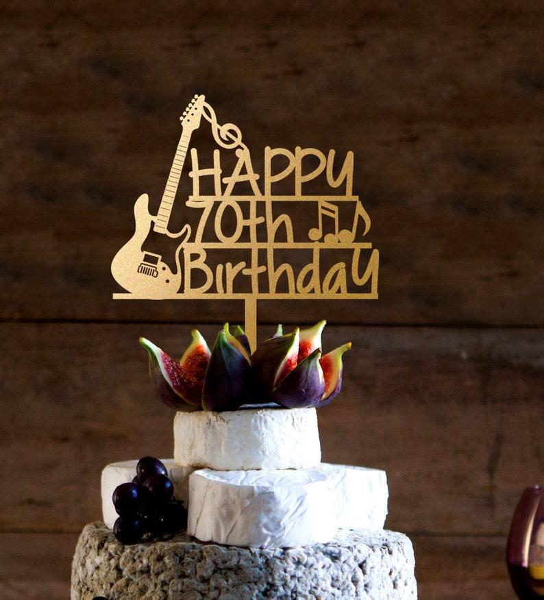 Guitar Cake Topper Guitar Player 70th Birthday Cake Topper