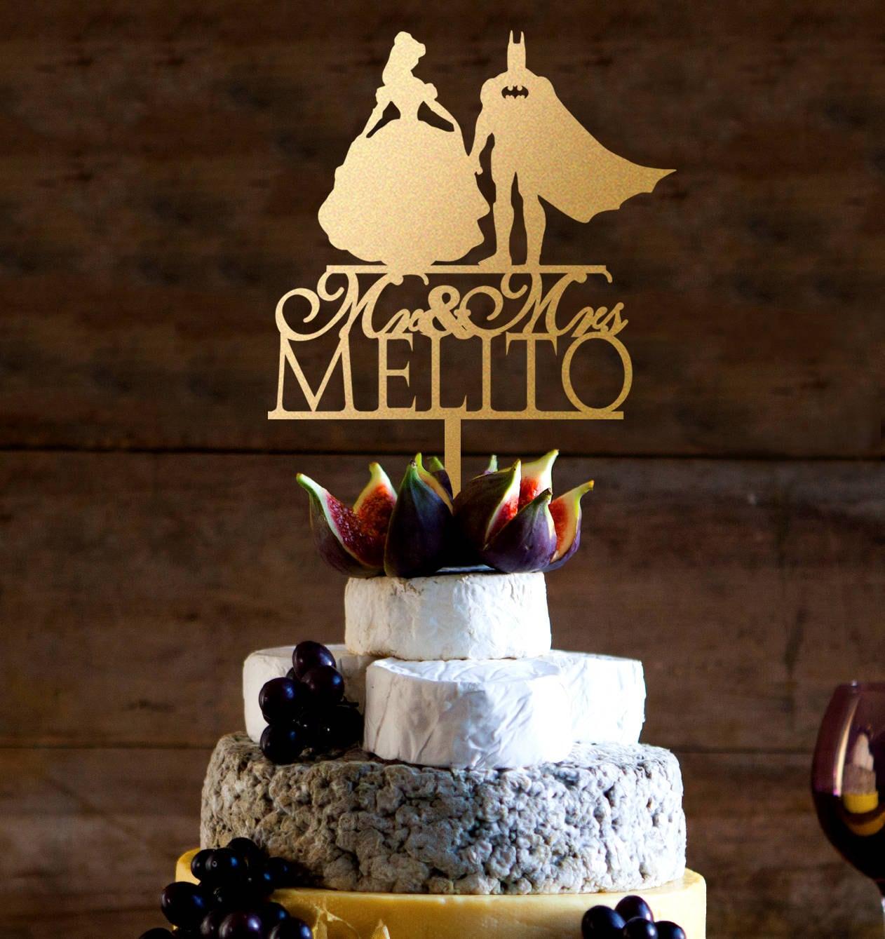 Wedding Cake Topper Batman And Belle Girl Wedding Cake Etsy