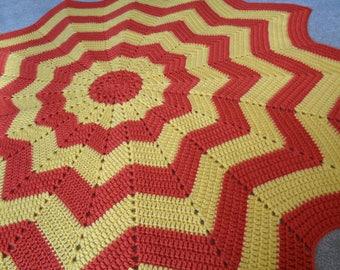 Round Ripple Crochet Baby Blanket, Star Ripple Crochet Baby Blanket, Crochet Lapfghan, Ripple Crochet Afghan, Toddler Blanket