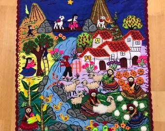 Peruvian Indios Arpillera Folk Art Wall Hanging Farming Motif