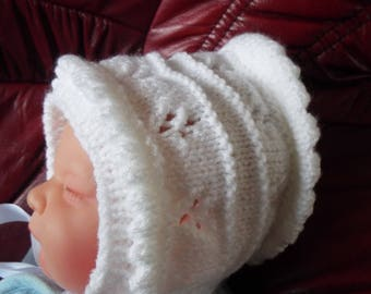 White Frill Baby Bonnet Hat size 0-6 Months