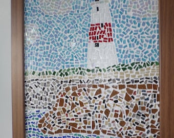 Framed Mosaic Lighthouse On Cliffs Scene Picture Art Wall Hanging