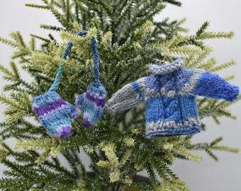 Mini Hand Knit Mittens Ornament Set