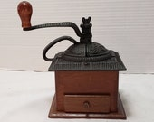 Vintage Coffee Grinder Old Farmhouse Country Décor, Cast iron top Wood box