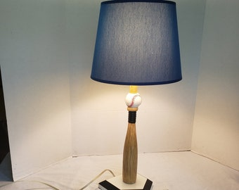 """Tall Table Top Baseball Lamp Heavy Weighted Includes Shade 25.5"""" T"""