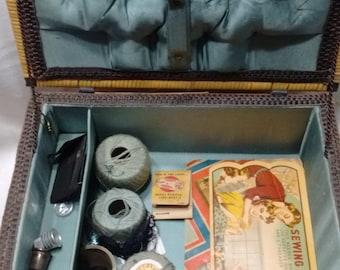 vintage alligator top wicker sewing basket