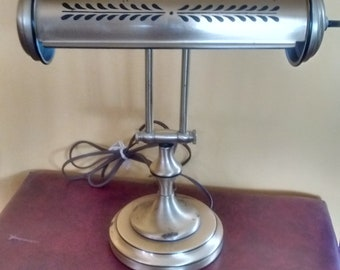 Vintage Adjustable Brass Desk Bankers Piano Lamp