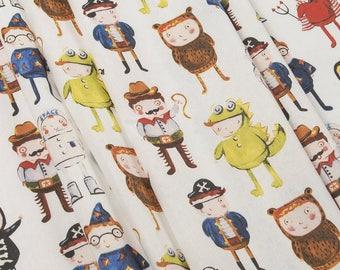 Party fabric Halloween fabric  Masquerade print cotton Quilt fabric pirates crocodile bear cowboy devil skeleton magician Сostume party