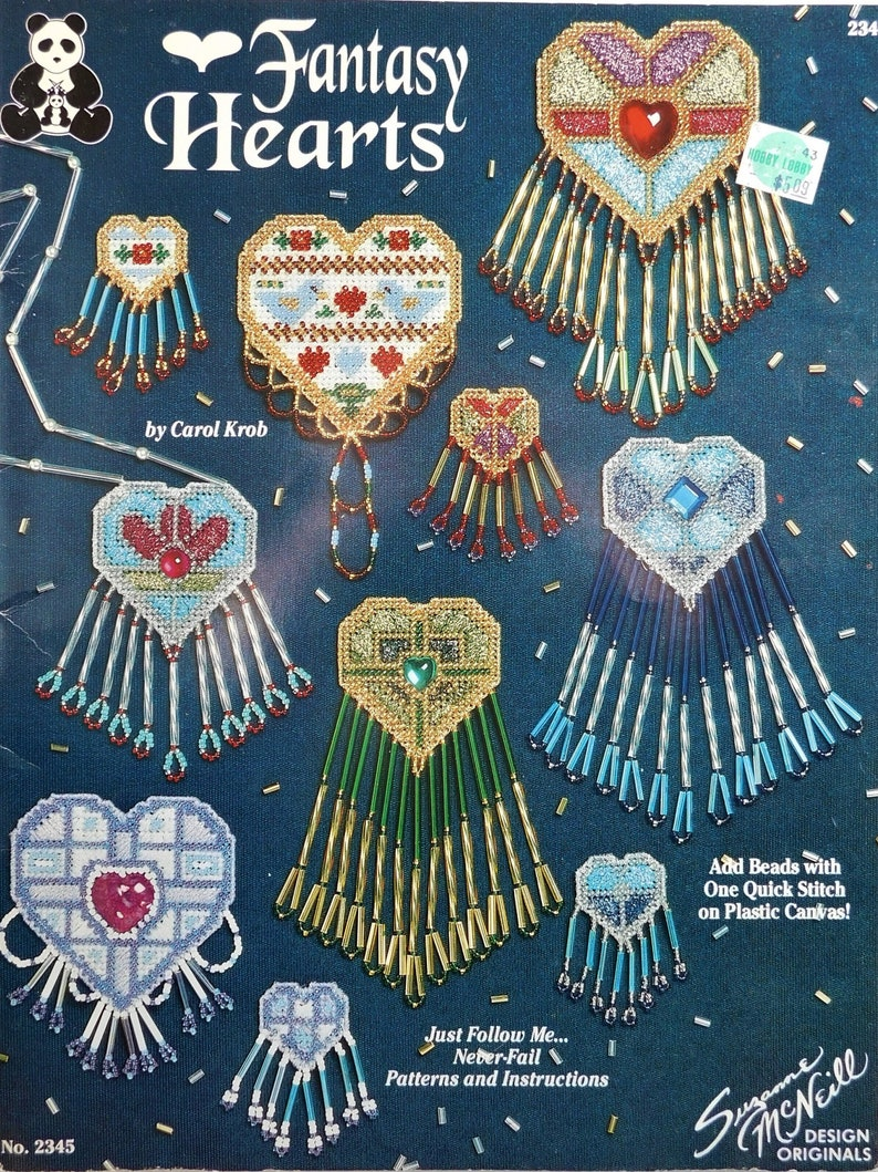 pendents Fantasy Hearts by Carol Krob instruction seed /& bugle beads patterns beads on plastic canvas,pins earrings charts necklaces