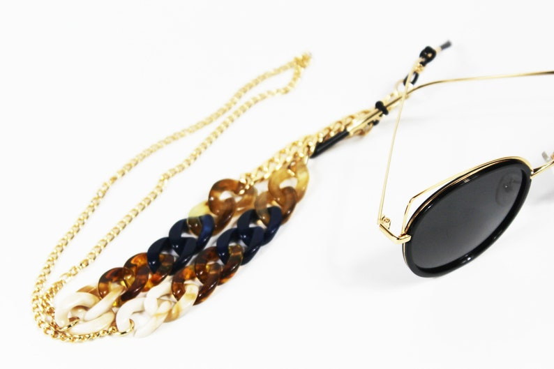 acriyic jeweled gold Glasses Holder Chain - Sunglass Strap for Her- Chain Glasses Holder- Sunglasses Necklace Chain- Sunglass Strap