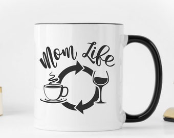 Coffee Wine Repeat//Mom Life//Black and White//Coffee//Mug//