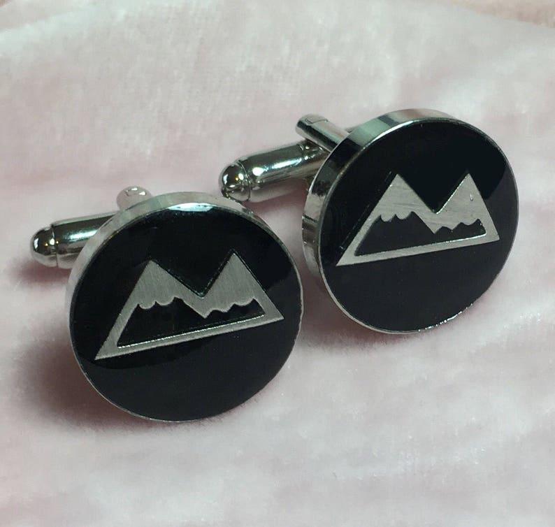 The Mountaineer Silver Toned Handmade Resin Cufflinks