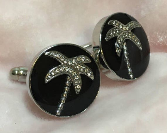 Silver Pave Palm Trees Handmade Resin Cufflinks