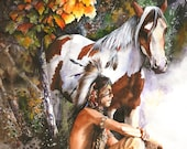 Sunburst - LARGE CANVAS Print - Native American Indian - pony - western - by Peter Williams ready to hang.